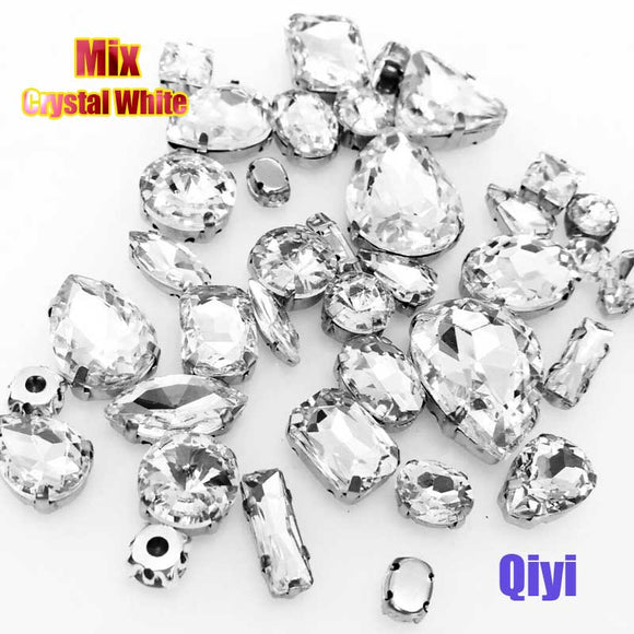 50pcs/bag high quality mixed shape crystal white glass sew on claw rhinestones,diy clothing accessories