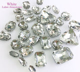 32pcs/pack Mix shape mix size glass flatback sew on rhinestones with holes,diy Clothing accessories