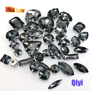 50pcs/bag high quality mixed shape gray glass faltback sew on claw rhinestones,diy clothing accessories SWM03
