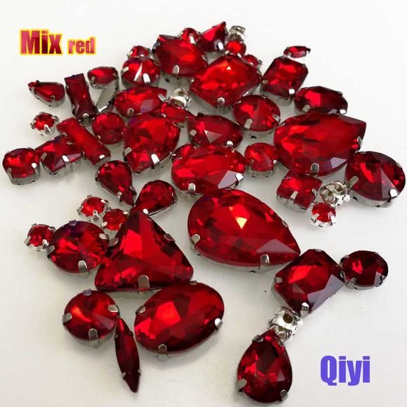 50pcs/bag high quality mixed shape red glass faltback sew on claw rhinestones,diy clothing accessories SWM04