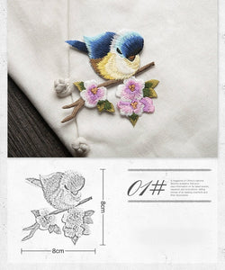 Bird Iron On Patches For Clothing Animal On The Breach Embroidery  Applique DIY Hat Coat Dress Pants Accessories Cloth Sticker