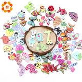 50pc Colorful 15mm 2Hole Wooden Buttons For Scrapbooking Crafts DIY Baby Children Clothing Sewing Accessories Button Decoration