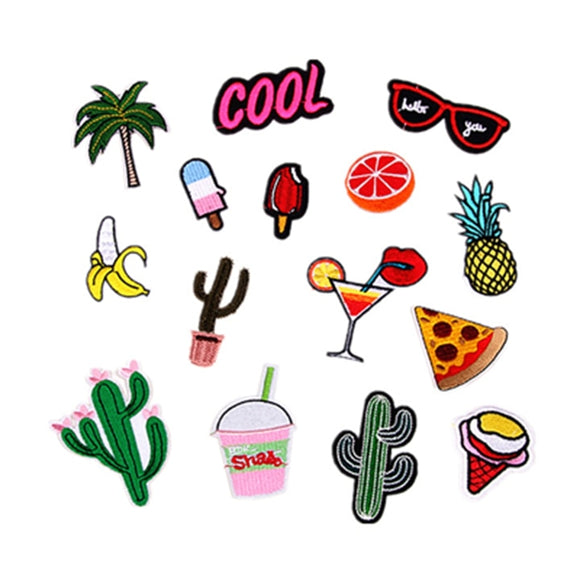 1pcs combination sale fruit food patch hot melt adhesive applique embroidery patch DIY clothing accessory patches stripes