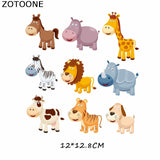 ZOTOONE Cartoon Animal Patches Set A-level Washable DIY Accessory Decoration Clothes Iron-on Transfers Patches Gift for Kids D
