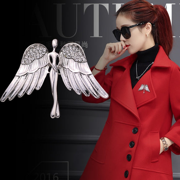 i-Remiel Fashion Women's and Men's Crystal Angel Wings Brooch Pin for Coat Suit Shirt Collar Decoration Clothing & Accessories