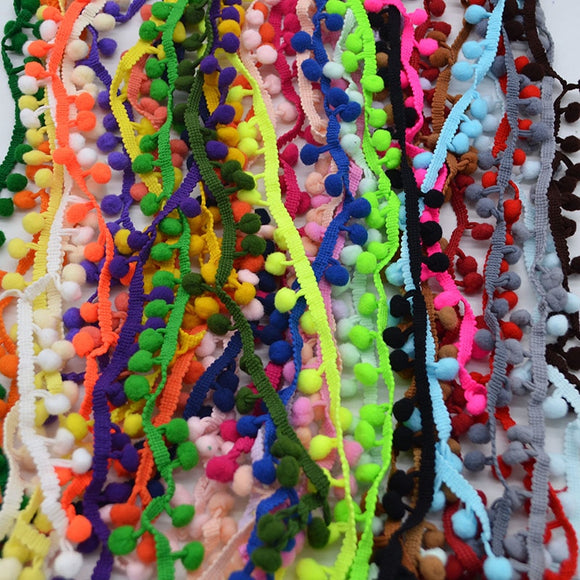 5 Yards Pom Pom Trim Ball 10mm Pompom Sewing Accessories Lace Trim Ribbbon Fabric Ribbon Handcraft Clothing Apparel Accessories