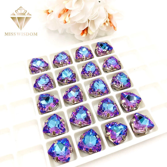 NEW 12mm Fat Triangle Bright purple rhinestones Glass Crystal sew on rhinestones sliver base with hole diy/clothing accessories