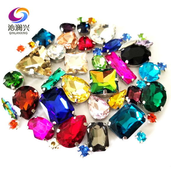 Mix 25 different colors Super beauty top quality glass crystal flatback sew on claw rhinestones,diy/Clothing accessories 50pcs