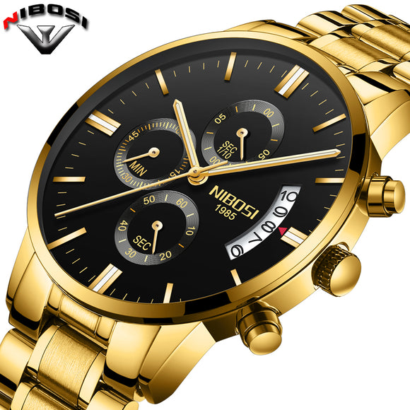 2019 NIBOSI Gold Quartz Watch Top Brand Luxury Men Watches Fashion Man Wristwatches Stainless Steel Relogio Masculino Saatler
