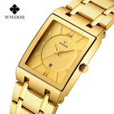 WWOOR Luxury top brand watch Men Rectangle Watches Genuine Stainless Steel Golden Watches Fashion Business Quartz Wristwatches