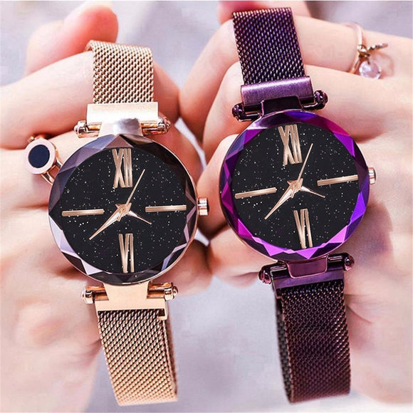 Dropshipping Women Mesh Magnet Buckle Starry Sky Watch Luxury Ladies Geometric Surface Roma Dial Quartz Watch Relogio Feminino