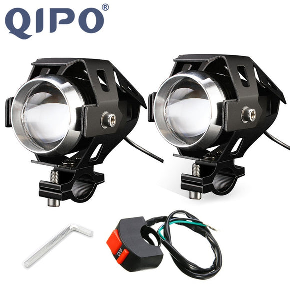 QIPO  Motorcycle Motorbike Headlights Bulbs Lamp U5 Led Spotlight Hi/Lo Flash Accessories 12V Motor Fit For Harley Honda Yamaha