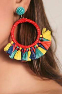 Zoi Stella Semi Tassel Vibrant Color Beaded Earring