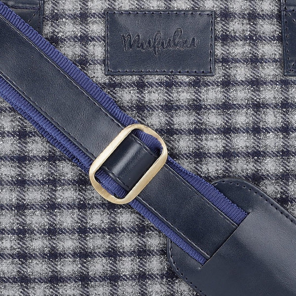 Vegan & Tweed 15.6 Inch Laptop Messenger Bag with Pouch - Retro Blue Checks
