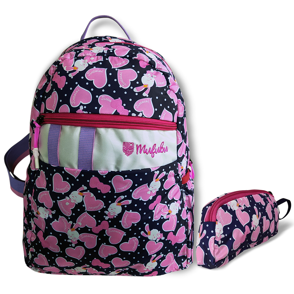 Gini' N' Poko Kids Backpack- Pink Hearts