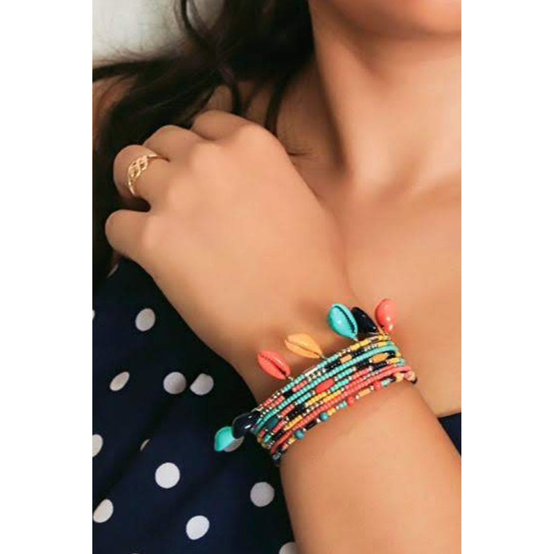 Zoi Afro Pop Multi Color Shell With Beaded Layer Bracelet