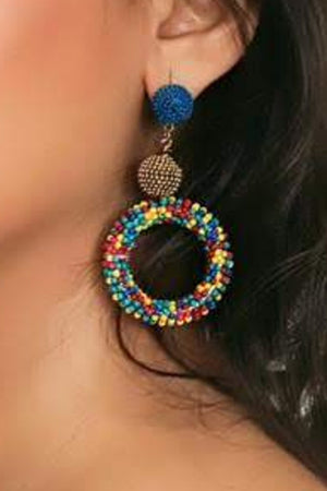 Zoi Stella Disc Shape Multi color Beaded Earring