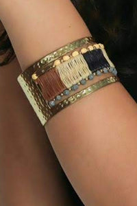 Zoi Raffia Weaved Metallic Bracelet