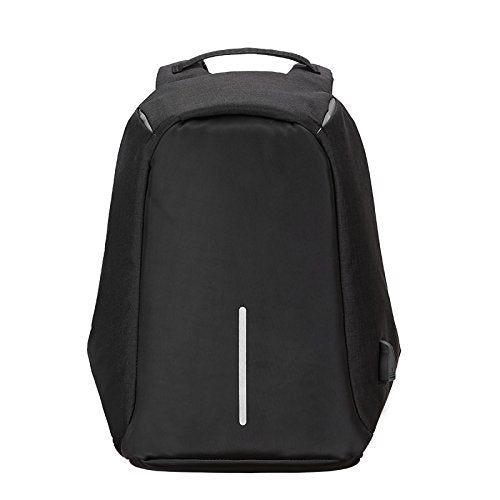 MUFUBU Nylon Fabric Black Water-Resistant Anti-Theft Travel Laptop Backpack with 2.0 USB Charging Port
