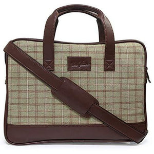 Mufubu Presents Vegan & Tweed Laptop Messenger Sling Office/Laptop Organizer Bag up to 16 inch for Men & Women - Brown
