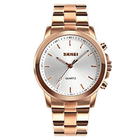 SKMEI Stainless Steel 30m Waterproof Analog Rose Gold Smartwatch