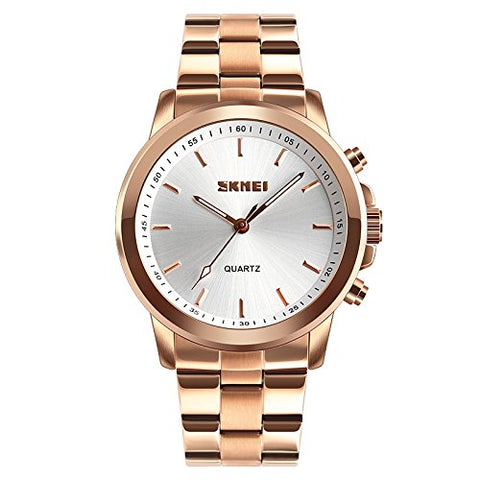 SKMEI Stainless Steel Analog Chronograph Smart Watch- Colour Rose Gold