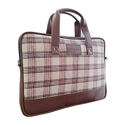 Vegan and Tweed Laptop Messenger Bag - Beige Retro Checks