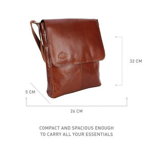 MUFUBU Presents Cosmo London 100% Genuine Leather Business Sling Bag with Adjustable Strap - Tan Color