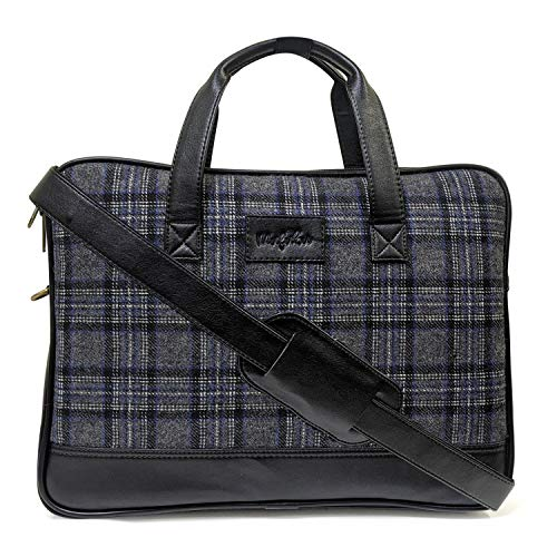 Vegan and Tweed Laptop Messenger Bag - Oxford Graphic Checks