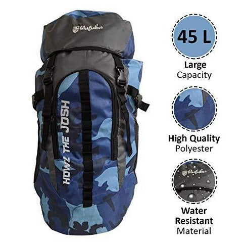 Camouflage 45 LTR Blue & Grey Rucksack Travel Bag with rain Cover