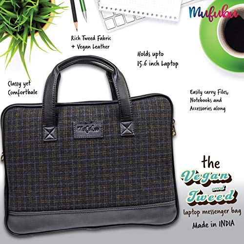 Vegan and Tweed Laptop Messenger Bag - Classic Black Check