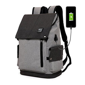 Stylish USB Laptop Backpack Bag Color Black and Grey- Easily and Conveniently Charge Your Phone, Tablet and Other Devices Without Opening Up The Backpack