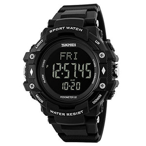 Heart Rate Watch Men Digital Watch Men's with Pedometer Calorie Monitoring Military Waterproof - Black