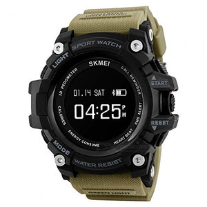 Skmei GS10334 Bluetooth Digital Black Dial Smart Watch (Khaki)