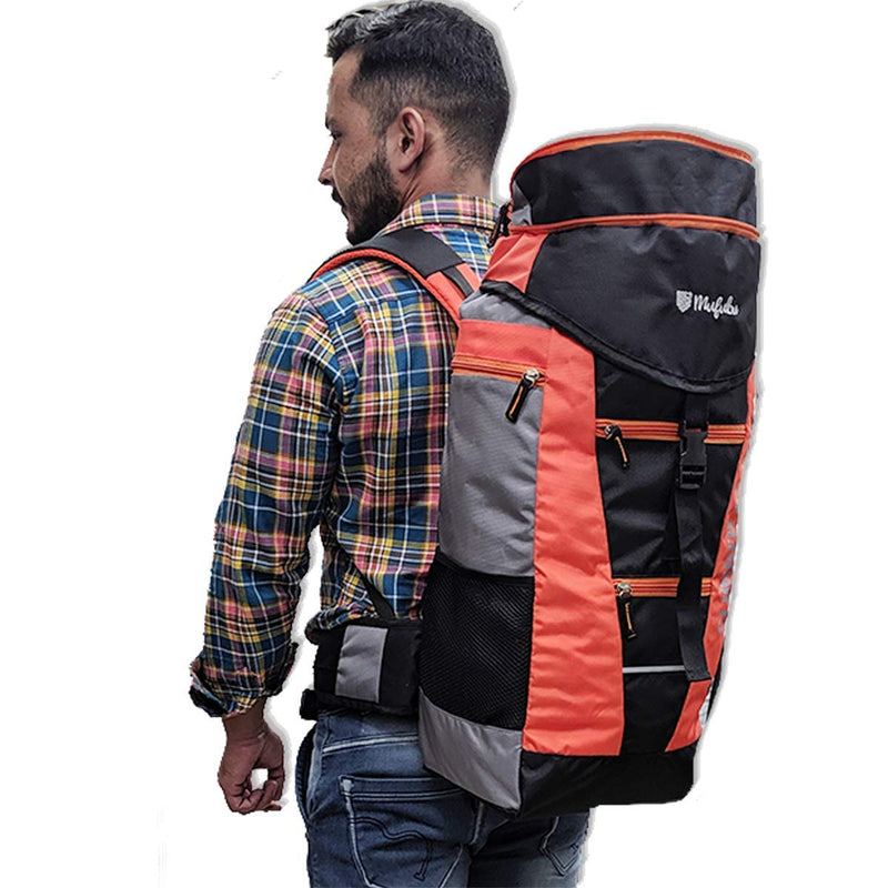 Climber 45+5 Ltr Rucksack with Rain Cover - Black/Orange