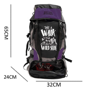 Get Unbarred 55 LTR Rucksack for Trekking, Hiking with Shoe Compartment (Black/Purple)