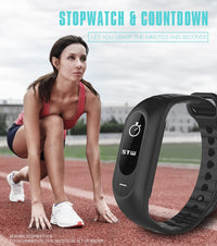 Hangoverr Power Beat Water Resistant Smart Fitness Activity Tracker (White and Black, H-B15P)