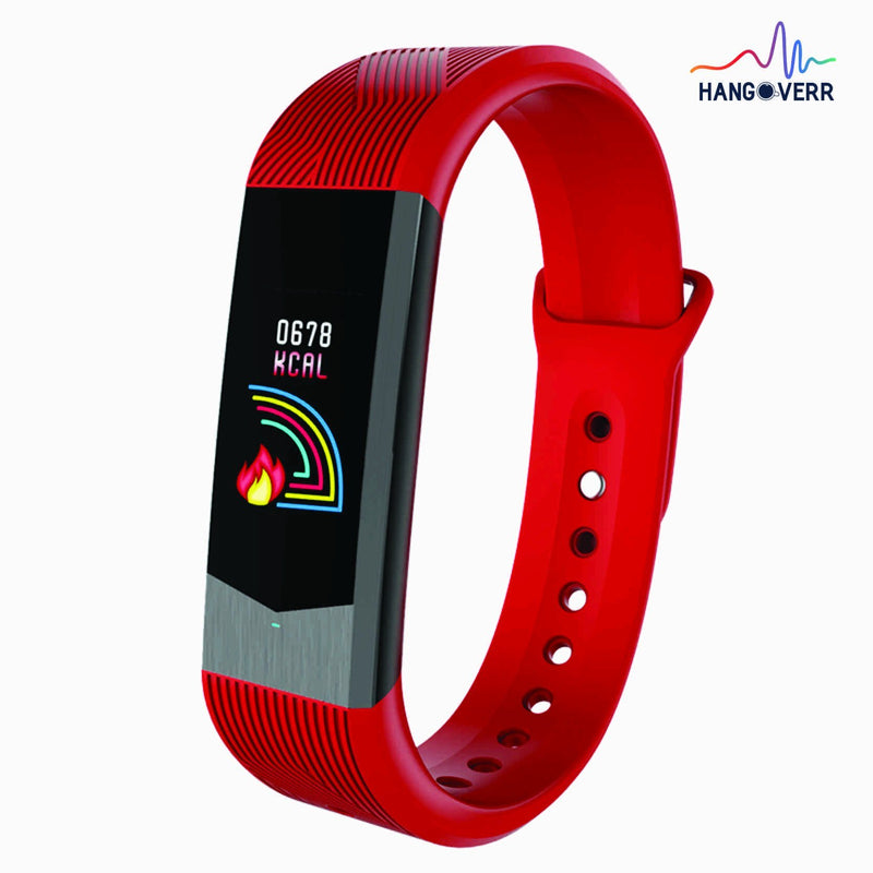 Hangoverr Power Beat Plus Water Resistant Smart Fitness Activity Tracker with Heart Rate and Multi Functions with App Notification (Red and Black)