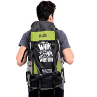 Get Unbarred 55 LTR Rucksack for Trekking, Hiking with Shoe Compartment (Black/Green)