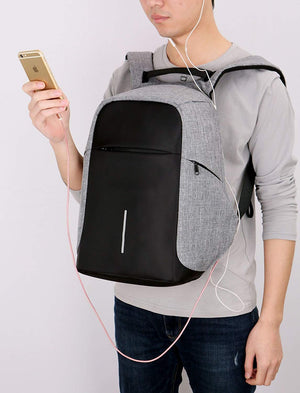 Laptop Bags for Men by Kaka with Water Proof and USB Charging Facility by Kaka- Grey