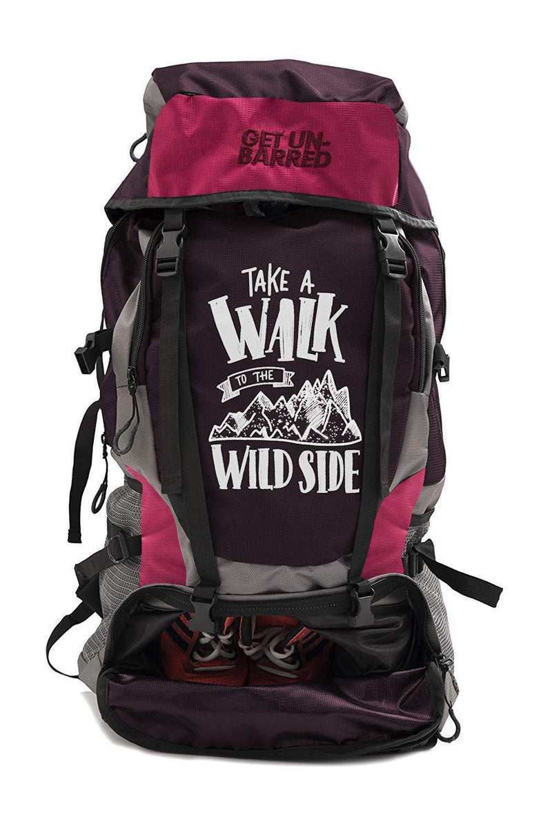 Get Unbarred 55 LTR Rucksack for Trekking, Hiking with Shoe Compartment (Dark Red/Coral)