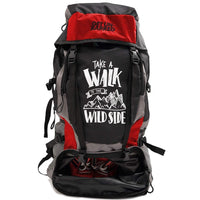Get Unbarred 55 LTR Rucksack for Trekking, Hiking with Shoe Compartment (Black/Red)