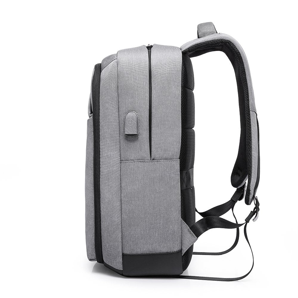 Polyester Kaka Elegant USB Anti Theft Backpack (Grey)