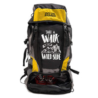Get Unbarred 55 LTR Rucksack for Trekking, Hiking with Shoe Compartment (Black/ Yellow)