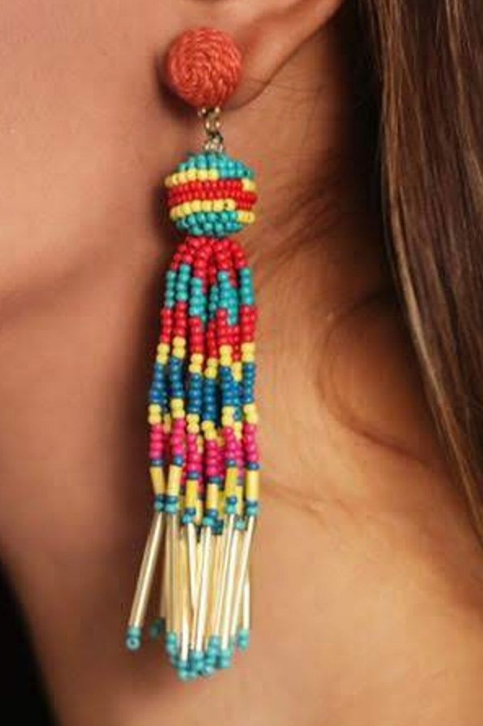 Zoi Stella Long Tassel Multi Color beaded Earring