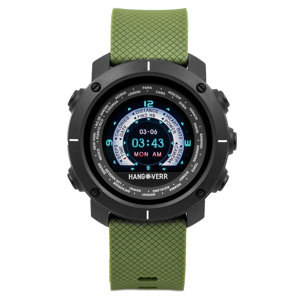 Hangoverr Digital Power Activate Black Dial Smartwatch (Green)