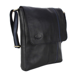 MUFUBU Presents Cosmo London 100% Genuine Leather Business Sling Bag with Adjustable Strap - Black Color