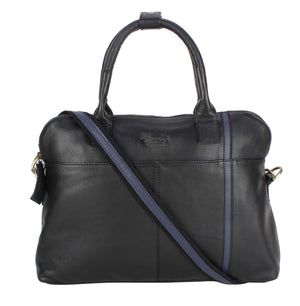 Mufubu Presents Cosmo London Brown Black Genuine Leather Coach Laptop Business Case