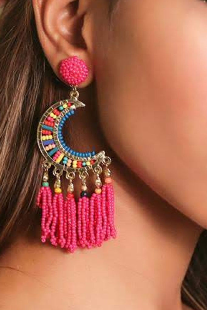 Zoi Stella Half Moon Pink Beaded Earring