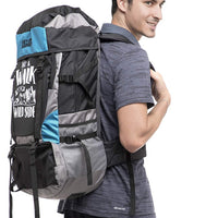 Get Unbarred 55 LTR Rucksack for Trekking, Hiking with Shoe Compartment (Black/Blue)